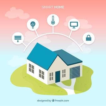 Slimme huisachtergrond met apparaat