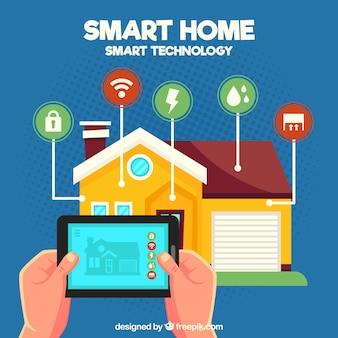 Slimme huisachtergrond met smarthphonecontrole