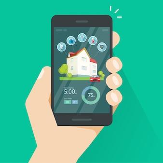 Slimme huisafstandsbediening op mobiele telefoonvector, smartphone met huisinnovatie