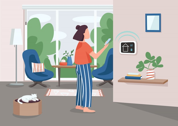Slimme huisbeheer paneel egale kleur illustratie. jonge vrouw met behulp van smartphone 2d stripfiguur met geautomatiseerde appartement op achtergrond. iot-technologie. afstandsbediening voor huishoudelijke apparaten