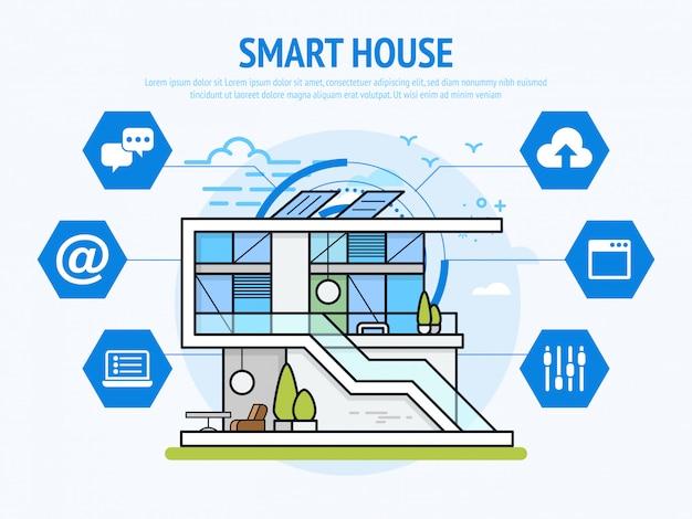 Slimme huistechnologie van het concept van de huisautomatisering