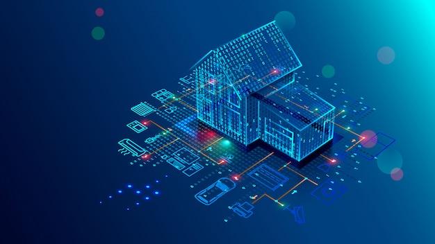 Slimme huistechnologie van interface, controleveiligheid en automatisering van smart house
