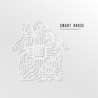 Slimme huistechnologische achtergrond slimme huis concept papier circuit