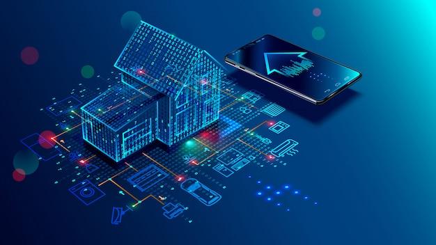 Slimme huisverbinding en controle met apparaten via thuisnetwerk