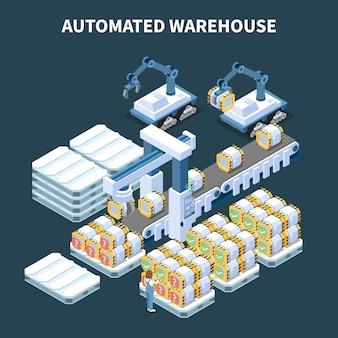 Slimme industrie intelligente productie isometrische samenstelling met afbeeldingen van geautomatiseerde armmanipulatoren, transportband en opslagblikken