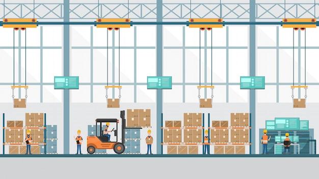 Slimme industriële fabriek in een vlakke stijl met arbeiders, robots en lopende bandverpakking.