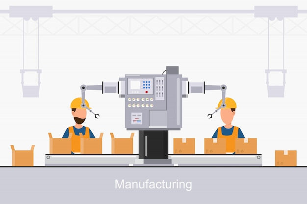 Slimme industriële fabriek in een vlakke stijl met arbeiders, robots en lopende bandverpakking