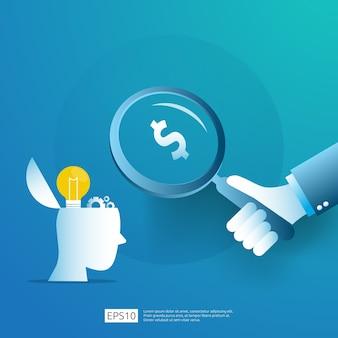 Slimme investering in het opstarten van technologie. angel investor business analytic. kans idee onderzoek concept met lamp gloeilamp en zakenman karakterelement.