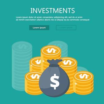 Slimme investering plat ontwerpconcept