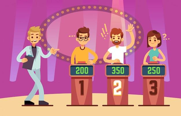 Slimme jongeren spelen quiz spelshow. cartoon afbeelding