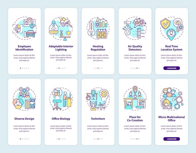 Slimme kantoorcreatie onboarding mobiele app-paginascherm met concepten. doorloop van trends op de werkplek grafische instructies in 5 stappen.