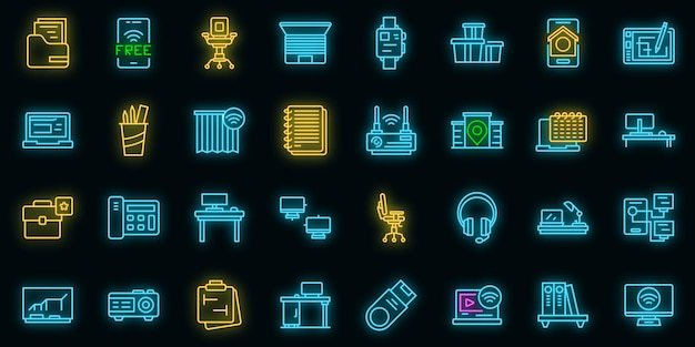 Slimme kantoorruimte pictogrammen instellen. overzicht set van slimme kantoorruimte vector iconen neon kleur op zwart