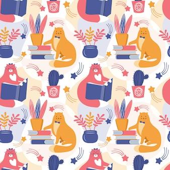 Slimme katten lezen boeken onder huisplanten hand getekende naadloze patroon