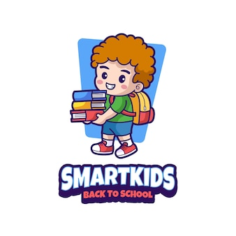 Slimme kinderen terug naar school mascotte logo-ontwerp