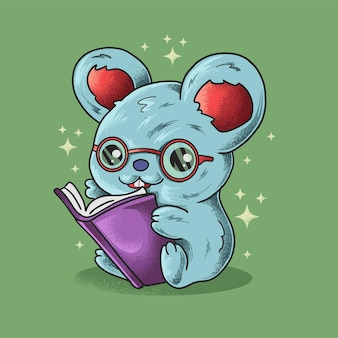 Slimme kleine muis grunge stijl illustratie vector