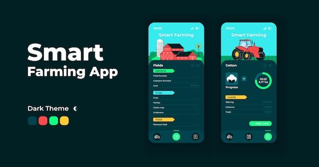 Slimme landbouw app cartoon smartphone interface sjablonen set. nachtmodus op het scherm van de mobiele app. snijdt productiviteitsinterface voor toepassing. telefoonscherm met illustraties