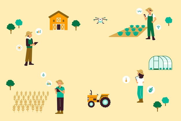 Slimme landbouw gemeenschap precisie landbouw vector achtergrond