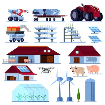 Slimme landbouw orthogonale platte set