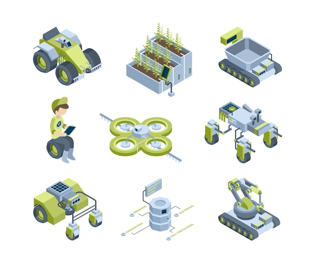 Slimme landbouw. toekomstige industriële landbouwmachines innovatieve oogstmachines tractoren organische kasrobots werken verlichtingspanelen isometrisch. illustratie robot transport maaidorser