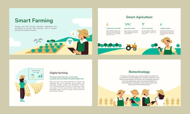 Slimme landbouw vector bewerkbare presentatiesjabloon set
