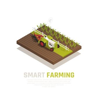 Slimme landbouwsamenstelling met landbouw en oogstsymbolen isometrische illustratie