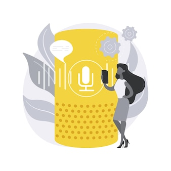 Slimme luidspreker. spraakgestuurde slimme assistent, virtuele domotica-hub, internet der dingen, geïntegreerd bedieningsapparaat, aanraaknavigatie.