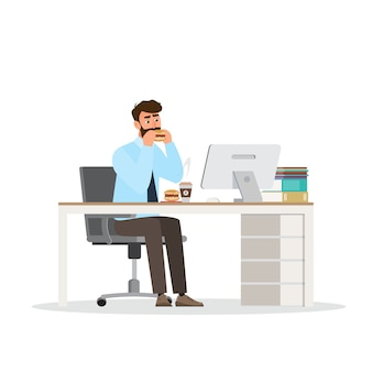 Slimme man casual dressing, zittend in kantoor