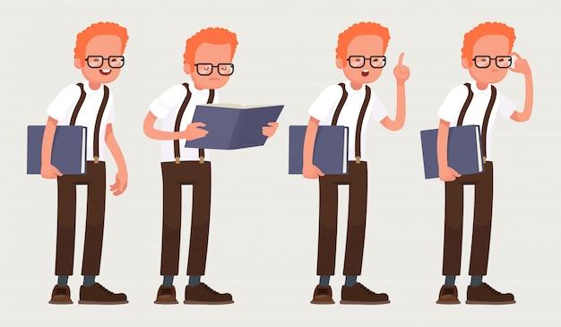 Slimme man met bril met een boek in zijn handen.