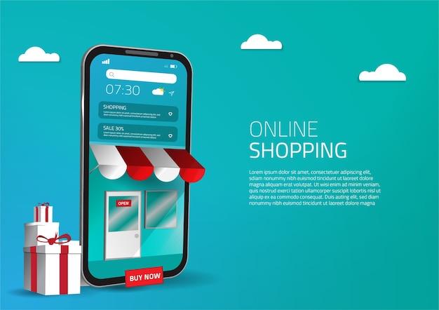Slimme mobiele 3d online shopping-app sociale media