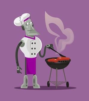 Slimme moderne futuristische robot fornuis chef-kok machine karakter koken voorbereiding en gebraden vlees