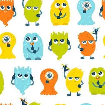 Slimme monsters naadloos patroon