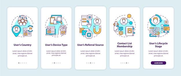 Slimme regels criteria onboarding mobiele app-paginascherm met concepten. gebruikersinformatie en gegevensdoorloop grafische instructies in 5 stappen.