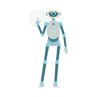 Slimme robot android stripfiguur met begroeting verwelkomend gebaar, illustratie op witte achtergrond. robotachtig wezen met high-tech technologie.