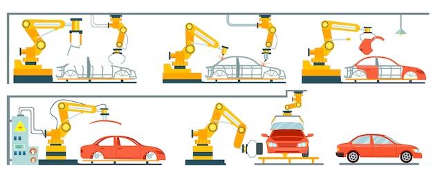 Slimme robotachtige assemblagelijn voor auto's