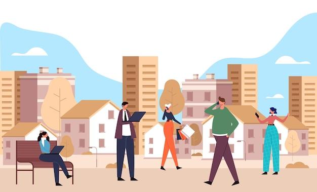 Slimme stad en mensen met behulp van telefoon en laptop concept.