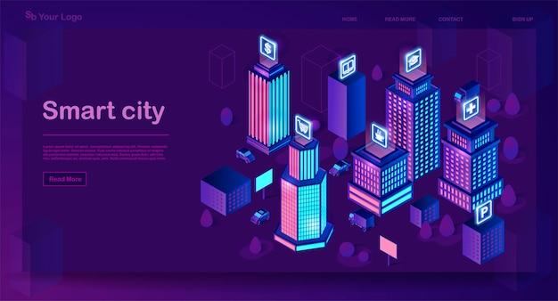 Slimme stad isometrische architectuur concept