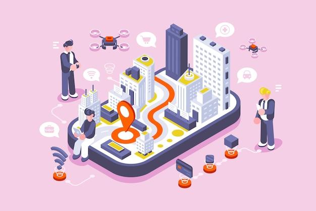 Slimme stad op digitaal touchscreen met ander pictogram