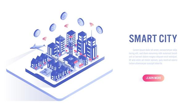 Slimme stad op mobiele isometrische platte vector concept. call-to-action of sjabloon voor webbanner