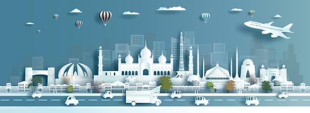 Slimme stad van pakistan in papierstijl