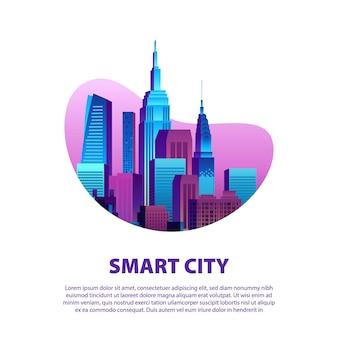 Slimme stadsillustratie met moderne pop kleurrijke wolkenkrabbers in gradiëntkleur