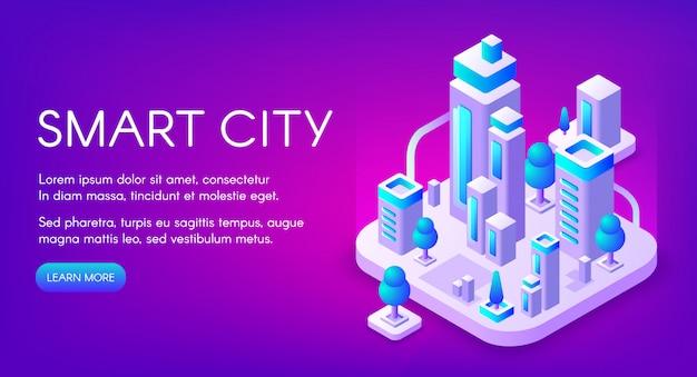 Slimme stadsillustratie van stad met digitale communicatietechnologie.