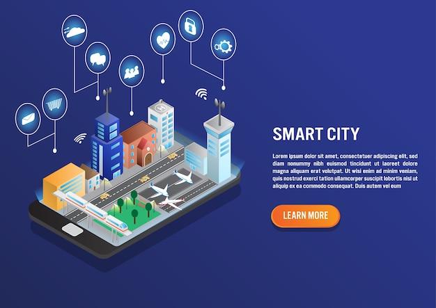 Slimme stadstechnologie in isometrisch vectorontwerp