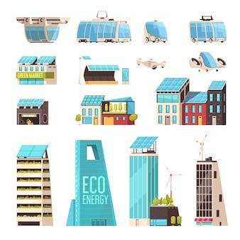 Slimme stadstechnologie-infrastructuur intelligent transportsysteem eco-energiezuinige stroomvoorzieningen vlakke elementen ingesteld