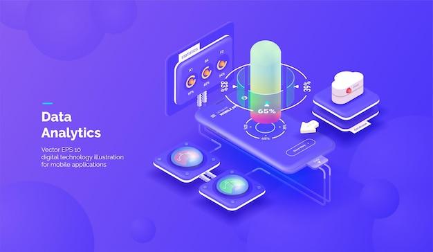 Slimme technologie integratiesystemen mobiele telefoon met een service voor het bewaken van applicatieparameters en het verkrijgen van statistische gegevens vectorillustratie isometrische stijl