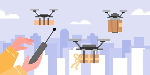 Slimme technologie levering van pakketten aan klanten met behulp van drone Premium Vector