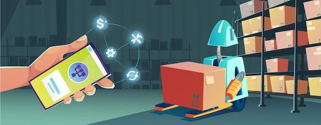 Slimme technologieën in magazijn met smartphone app voor controle robot vector cartoon illustratie van...