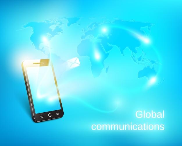 Slimme telefoon die bericht op de blauwe achtergrond van de wereldkaart verzendt