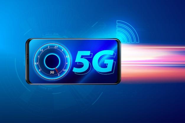 Slimme telefoon en 5g-symbool, 5g-netwerk draadloos systeemconcept.