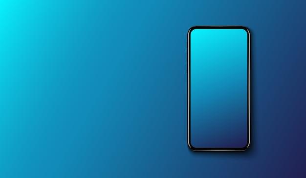 Slimme telefoon op gladde donkerblauwe achtergrond, futuristisch technologieontwerp