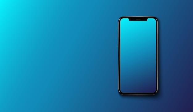 Slimme telefoon op gladde donkerblauwe achtergrond, futuristische technologie